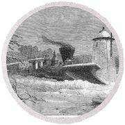 Railway Snow Plough, 1862 Round Beach Towel