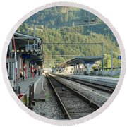 Railway Station West Interlaken Switzerland Round Beach Towel