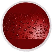 Rain Drops Bloody Red  Round Beach Towel