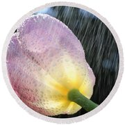 Rain Falling On A Tulip Round Beach Towel