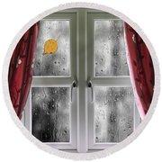 Rain On A Window With Curtains Round Beach Towel