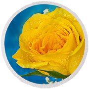 Rain On A Yellow Rose Round Beach Towel
