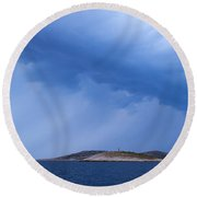 Rain Over The Sea Round Beach Towel