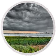 Rain Rolling In On The River Round Beach Towel