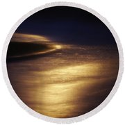 Gold Water On The Street Round Beach Towel