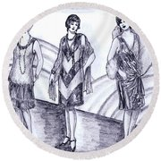 Rainbow 1920s Fashions Round Beach Towel