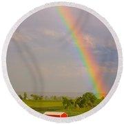 Rainbow And Red Barn Round Beach Towel