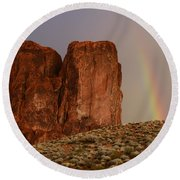 Rainbow And Red Rock Round Beach Towel