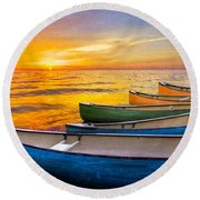 Rainbow Armada Round Beach Towel
