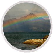 Rainbow At The End Of The World  Round Beach Towel