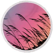 Rainbow Batik Sea Grass Gradient Silhouette Round Beach Towel