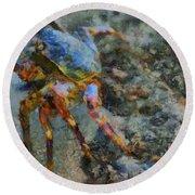 Rainbow Crab Round Beach Towel