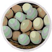 Rainbow Eggs Round Beach Towel