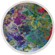 Rainbow Fish Watercolor Abstract Art Round Beach Towel