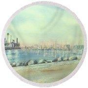 Rainbow Harbor And The Oil Island Round Beach Towel