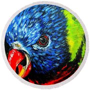 Rainbow Lorikeet Look Round Beach Towel