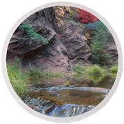 Rainbow Of The Season And River Over Rocks Round Beach Towel by Heather Kirk