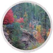 Rainbow Of The Season Round Beach Towel by Heather Kirk