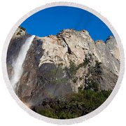 Rainbow On Bridalveil Fall Round Beach Towel