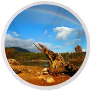 Rainbow Over Affric Round Beach Towel