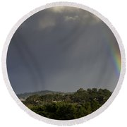 Rainbow Over Carmel Round Beach Towel by Mike Herdering