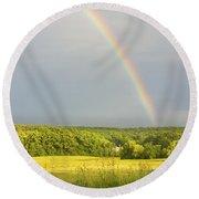 Rainbow Over Hay Field In Maine Round Beach Towel
