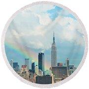 Rainbow Over Manhattan Round Beach Towel