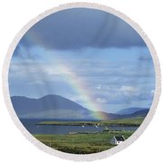 Rainbow Over Mountains, Ballinskelligs Round Beach Towel