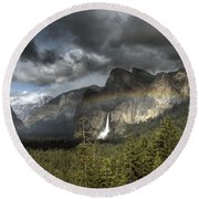 Rainbow Over The Valley Round Beach Towel