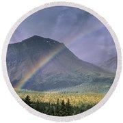 Rainbow Over Willmore Wilderness Park Round Beach Towel
