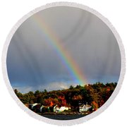 Rainbow Over Winnepesaukee Round Beach Towel