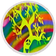 Rainbow Roots Round Beach Towel
