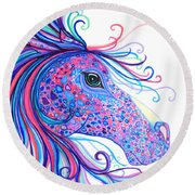 Rainbow Spotted Horse Round Beach Towel