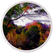 Rainbow Treetops Round Beach Towel by DigiArt Diaries by Vicky B Fuller