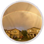 Rainbows Over Suburbia 1 Round Beach Towel