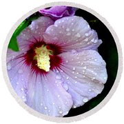 Raindrops On Roses Of Sharon Round Beach Towel