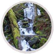 Rainforest Waterfall Round Beach Towel