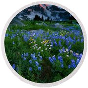 Rainier Wildflower Dawn Round Beach Towel by Mike  Dawson