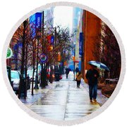 Rainy Day Feeling Round Beach Towel by Bill Cannon