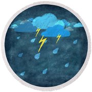 Rainy Day With Storm And Thunder Round Beach Towel