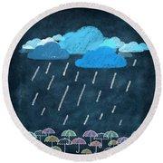 Rainy Day With Umbrella Round Beach Towel by Setsiri Silapasuwanchai