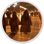 Rainy Night Nuns Round Beach Towel