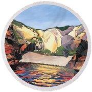 Ramsey Island - Land And Sea No 2 Round Beach Towel
