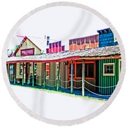 Ranch Buildings - Hdr White Round Beach Towel