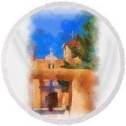 Ranchos Church Gate - Aquarell Round Beach Towel