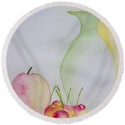 Ranier Cherries And A Pink Lady Round Beach Towel