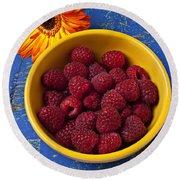 Raspberries In Yellow Bowl Round Beach Towel