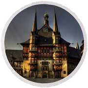 Rathaus At Wernigerode Round Beach Towel