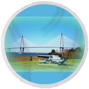 Ravanel Bridge At Patriot Point Charleston Sc Round Beach Towel