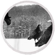 Ravens By A Woods Round Beach Towel